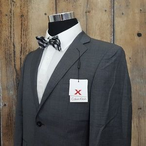 Calvin Klein Slim Sport Coat Mens 38S Wool Gray